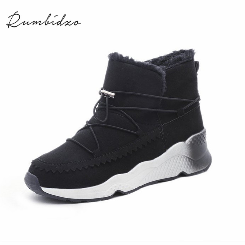 Rumbidzo Women Boots 2018 Fashion Woman Shoes Round Toe Lace Up Flat Heel Winter Snow Boots Women Bootie Warm Botas Sapatos winter woman boots lace up ladies flat ankle boot casual round toe women snow boots fashion warm plus cotton shoes st903
