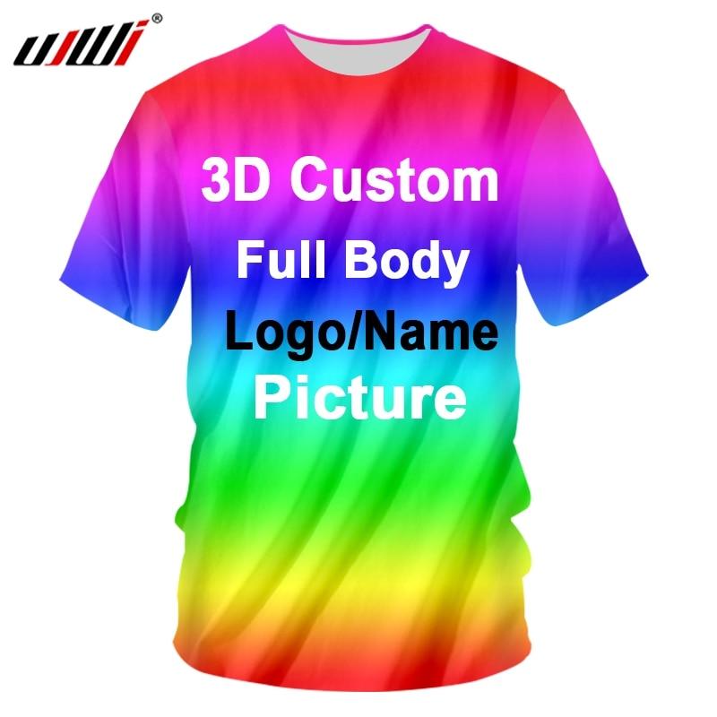 Ujwi 3d impressão personalizado camisetas de algodão poliéster oversized camisas fábrica dropship diy equipe competição roupas corrida