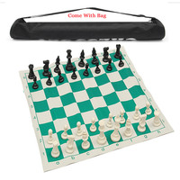 Travel Tournament 32pcs Chess Set Gift Toy With Bag Plastic International Chess Set With Chessboard Family