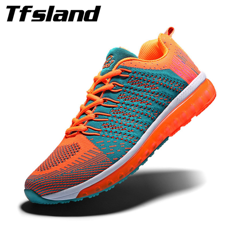 Tfsland Women Men Flat Breathable Soft Running Shoes Air Cushion Footwear Daily Walking Shoes Student Fly Woven Lace-Up Sneakers
