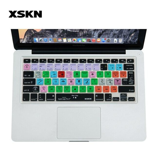 Funda de teclado XSKN para Logic Pro X 10 funda de silicona funcional para Macbook Air 13, funda lógica para Macbook Pro 13, 15
