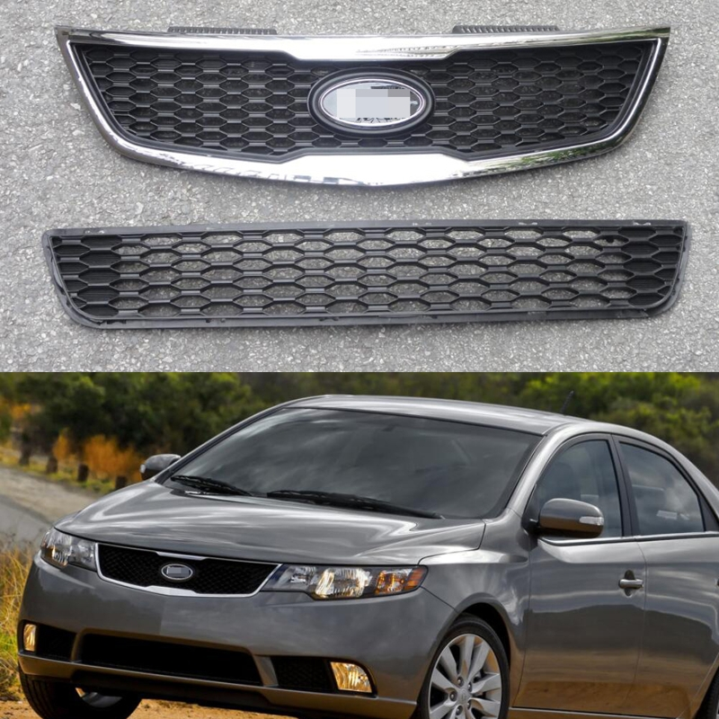Aliexpress Com Buy Chrome Front Upper Grill Grille For: 2Pcs/Set Front Chrome Upper Grill With Honeycomb Lower