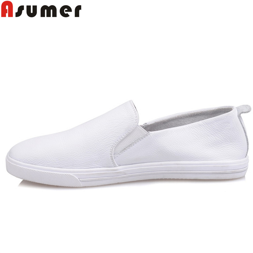 ASUMER white fashion spring autumn flat shoes woman round toe casual genuine leather shoes comfortable women flats muyang new 2017 women shoes genuine leather flats round toe bowtie soft comfortable flat shoes spring autumn casual female shoes