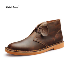 Willa's Dance 2016 Winter Men Boots Fashion Genuine Leather Vintage Ankle Boots Men Brand Casual Shoes For Male Desert Boots
