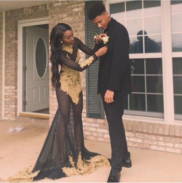 Sexy See Through Black And Gold Mermaid Prom Dress 2017 Black Girls