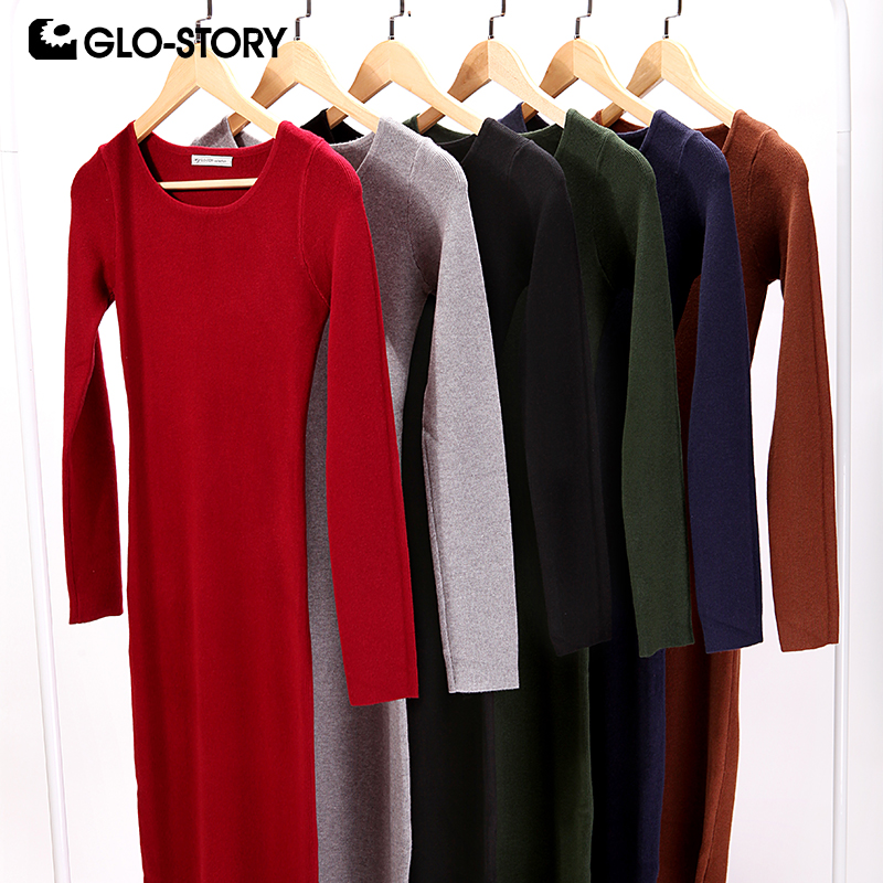 GLO-STORY femmes robe pull 2018 élégant Chic à manches longues robe en tricot Sexy fête moulante pull robes WMY-2616