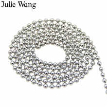 Julie Wang 2-10m 1.5mm Stainless Steel Beads Chain Necklace Pendant Bracelet Women Men DIY Jewelry Making Handmade Finding(China)