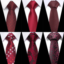 New fashion Red Paisley Floral tie men 7.5cm Slim Tie Group necktie Wedding Party Necktie For Men Corbatas 0405-A10