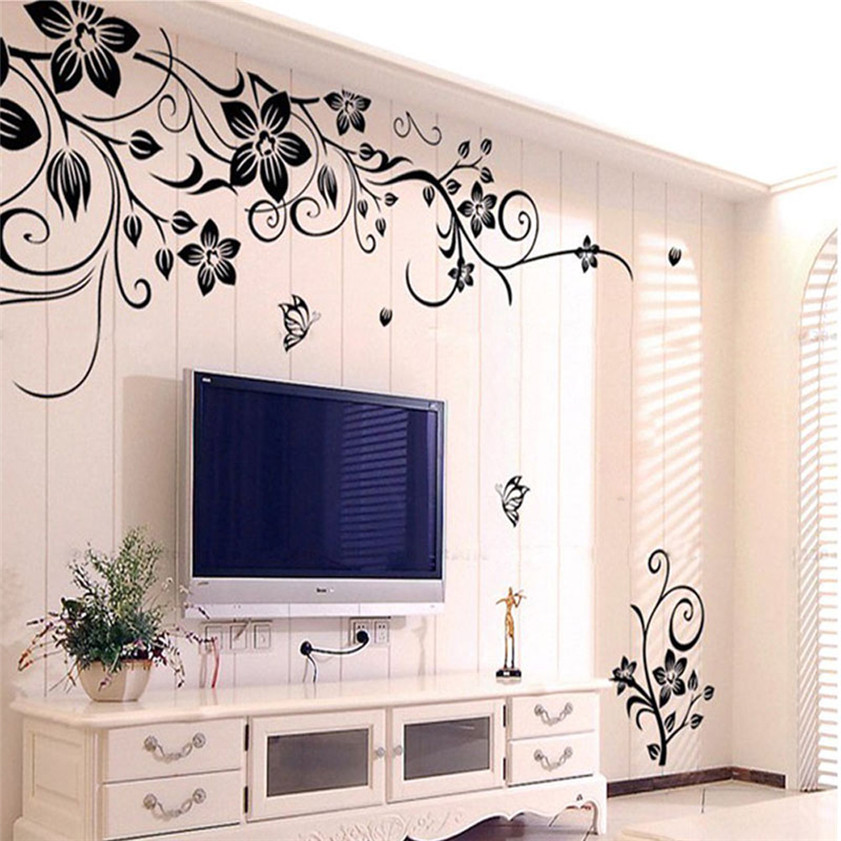 Wallpaper Sticker Hee Grand Removable Vinyl Wall Sticker Mural Decal Art - Flowers and Vine Wallpapers For Living Room B#