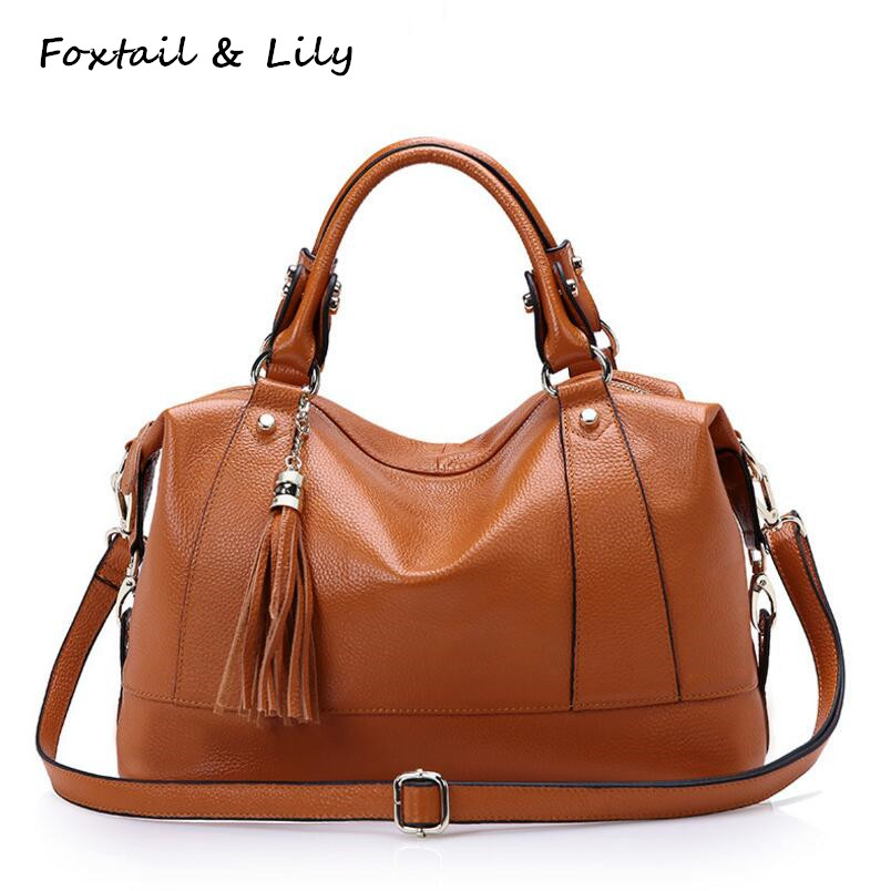 FoxTail & Lily Ladies Genuine Leather Tassel Bags Handbags Women Famous Brands 2017 Soft Leather Tote Shoulder Messenger Bags chispaulo women genuine leather handbags cowhide patent famous brands designer handbags high quality tote bag bolsa tassel c165