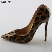 Gullick Leopard Print High Heel Leather Pumps Pointed Toe Slip-on Women Stiletto Heel Dress Shoes Sexy Shallow Pumps Real Photo light khaki dress shoes suede faux leather round toe pumps platform leopard high heels slip on women shoes real photo us14