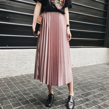 Satin Pleated Skirt Womens Black green pink Elegant Long Skirts School 2017 Summer Saia For Women Imitation Silk Skirt Female