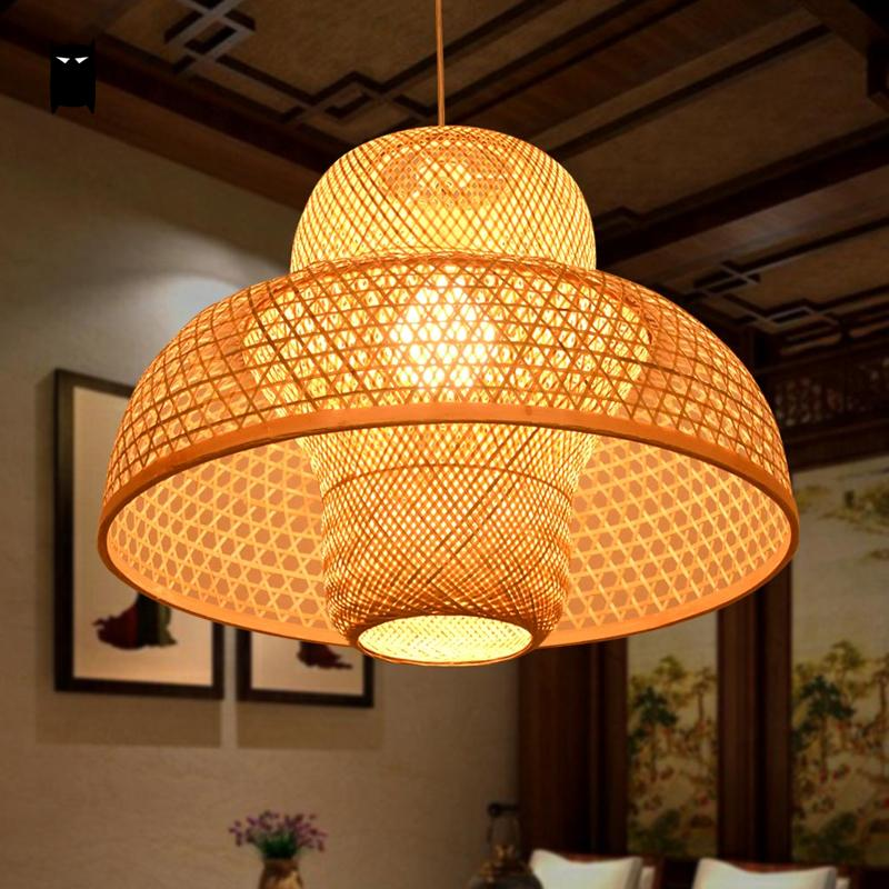 Bamboo Wicker  Rattan  Castte Shade  Pendant Light  Fixture