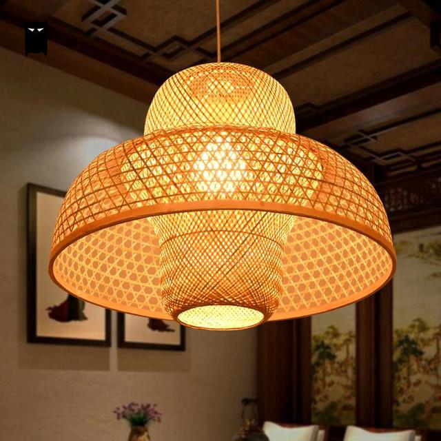 Bamboo Wicker Rattan Castte Shade Pendant Light Fixture Handmade Craft  Meditation Rustic Hanging Ceiling Lamp Fittings