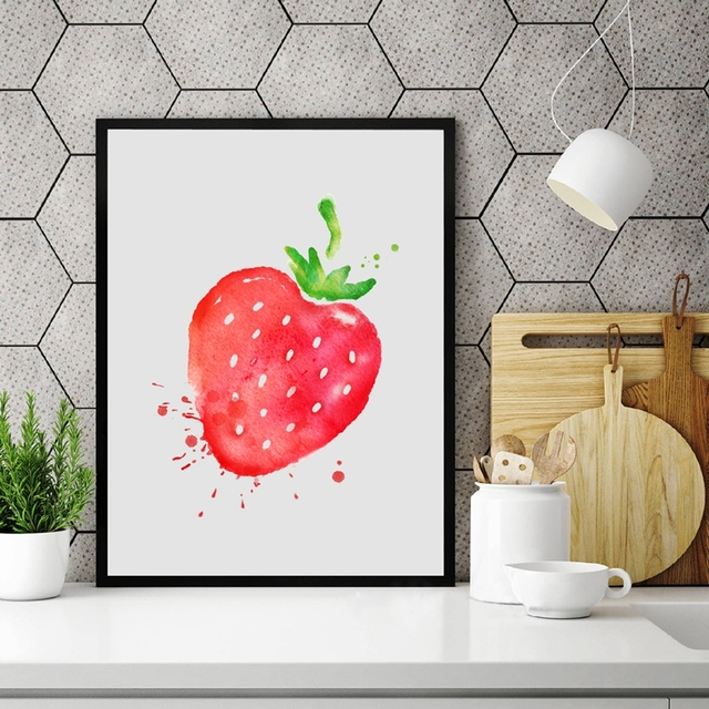 Aquarell Obst Erdbeere Leinwand Kunstdruck Wandbilder Home Küche