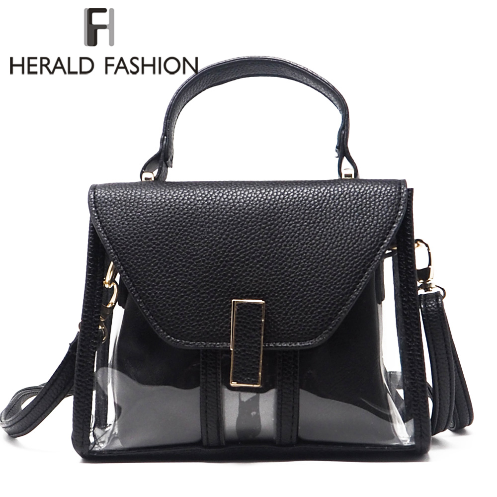 Herald Fashion Transparent Women Handbag 2pcs Clear Summer Beach Composite Bag Female Shoulder Bags Lady's Messenger Bag Bolsa nary fashion watch leather strap men s watches quartz clock womens watch double calendar with date week lovers casual wristwatch