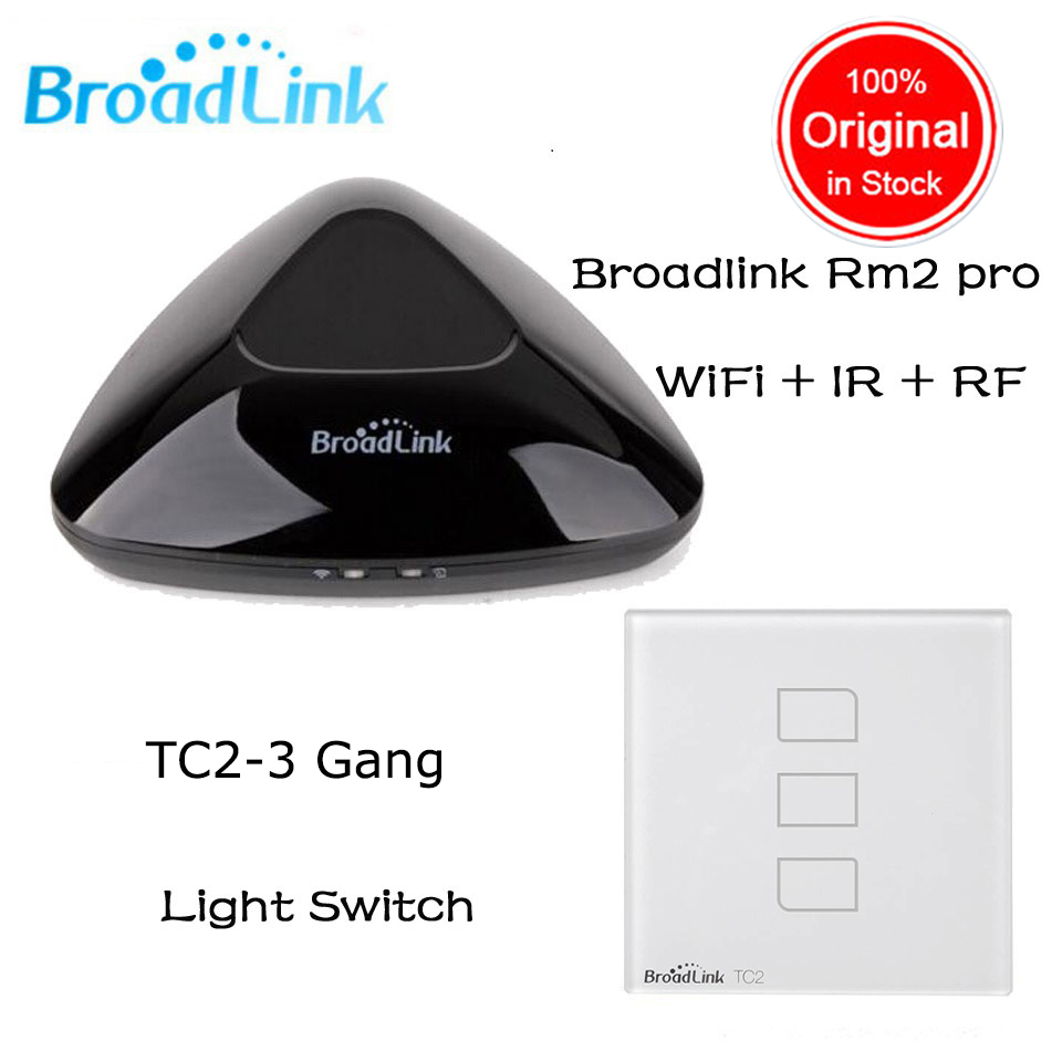 Broadlink RM2 RM Pro + Broadlink TC2 3 gang Smart Switch Home Automation WiFi Controlled IR & RF Remote Center for ios Android broadlink rm2 rm pro universal intelligent remote switch smart home automation wifi ir rf switch via ios android phone
