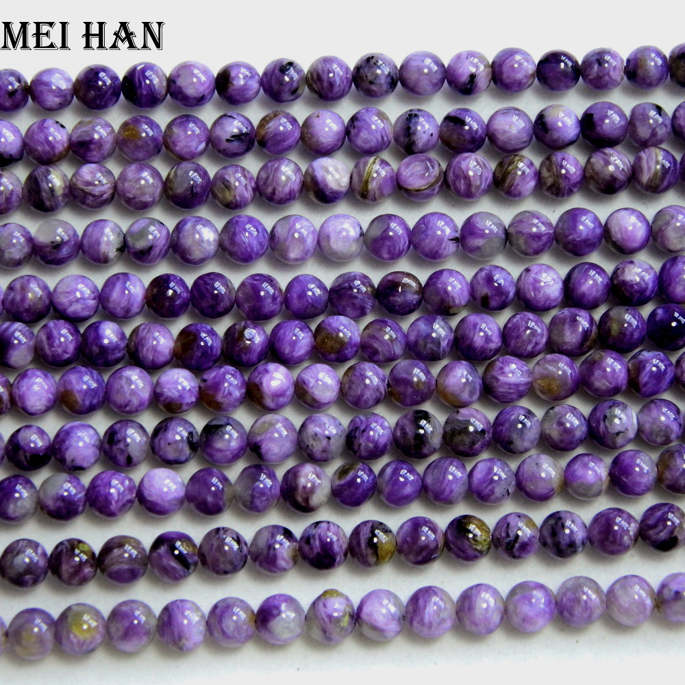 Free shipping(64 beads/set ) natural grade A+ Russian Charoite 6-6.5mm smooth round charm gem stone for jewelry making