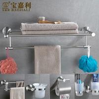 AUSWIND Luxury Silver Bath Hardware Hanger Set Package Towel Rack Bar Paper Holder Shelf Hook Brush Bathroom Accessories Sj18