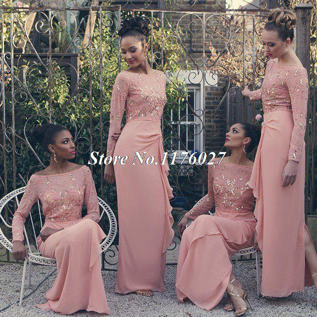 Chiffon Long Bridesmaid Dresses With Long Sleeve Sequins Beaded