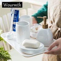 WOURMTH 8Pcs Classic white and black ceramic bathroom accessory set with tray and Toothbrush cup porcelain Housewarming gifts