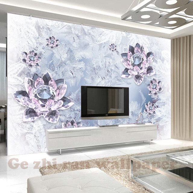 Custom Mural Wallpaper Stereoscopic Crystal Clear Lotus Perhiasan Ruang Tamu R Tidur Tv Sofa