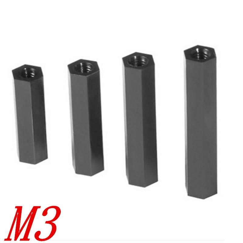 Hot 50pcs Black Plastic Nylon M3 Hex Column Standoff Spacer  Screw VGCA