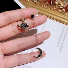 Cute Gold Space Moon Long Chain Stud Earrings for Women Korean Earring Fashion Jewelry 2019 New