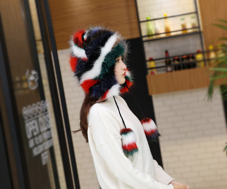 2017 Winter Faux Fox Fur Caps for Women Warm Bomber Hats with Ears Girls Novelty Cartoon Animals Party Caps Female Hats Gift 18