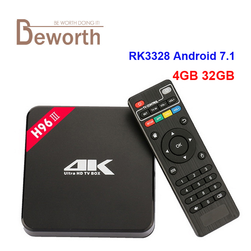 H96-III RK3328 Android 7.1 4GB/32GB TV Box Quad Core KD17.3 USB 3.0 Wifi 4K VP9 H.265 HDMI Smart Media Player PK H96 Set Top Box free ship drop shipping quad core android 4 4 smart tv box xbmc media player blue ray hdd player h 265 1080p wifi hdmi youtube