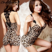 Chafferer 2017 New Court Léopard De Danse Sexy Lingerie Robe Parti Robes De Soirée Adulte Sex Fun Uniformes Mini Robes Eroticos