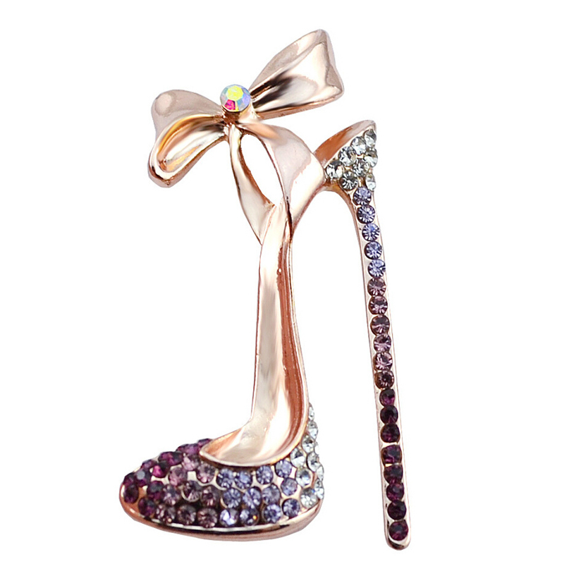 Romantic Purple Crystal High-heeled shoes Brooches for women wedding and party jewelry accessories ladies bow-knot brooch pins