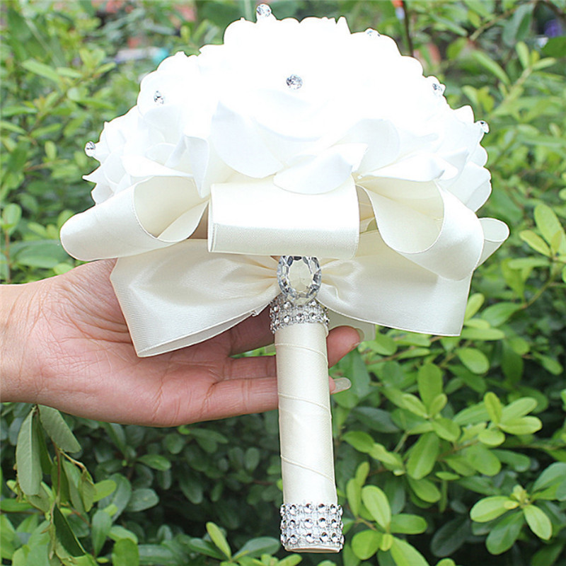 ٩(^‿^)۶Hermosa novia celebración ramo espuma Rosa Flores hechas a ...