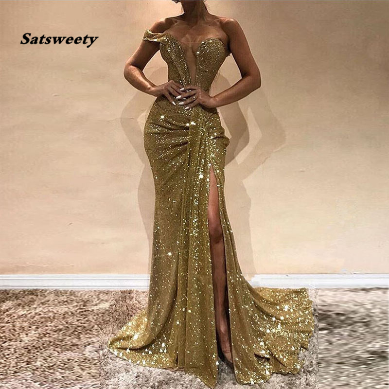 Gold Sequins Mermaid Long   Evening     Dresses   Single Strap Pleats Split Floor Length Sexy Prom Gowns Women Party   Dresses