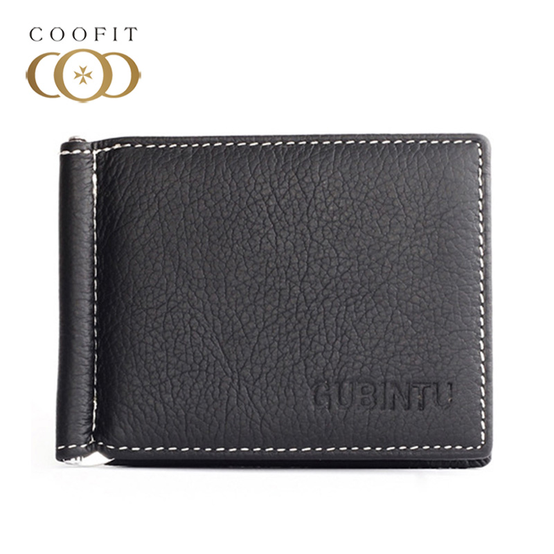 Coofit Ultra Thin Men Wallet Casual Male Bi-Fold Cowhide Wallet Leather Purse With Money Clip Card Slots Card For Men Boys Teens