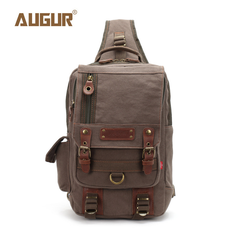AUGUR Man Shoulder Bag Male Casual Travel Military Larger Sling Chest pack Bag Men's Canvas Messenger Bags Chest Sling Bag augur fashion men s shoulder bag canvas leather belt vintage military male small messenger bag casual travel crossbody bags