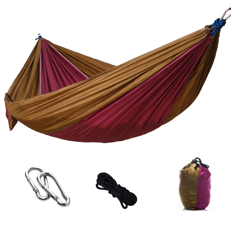 Ultralight Parachute Single Double Hammock Camping Hunting Hammock Outdoor Picnic Mat Bedroom Dormitory Bed Soft Bed Swing 260 140cm outdoor double hammock camping survival parachute cloth dormitory bedroom canopy swing hammock