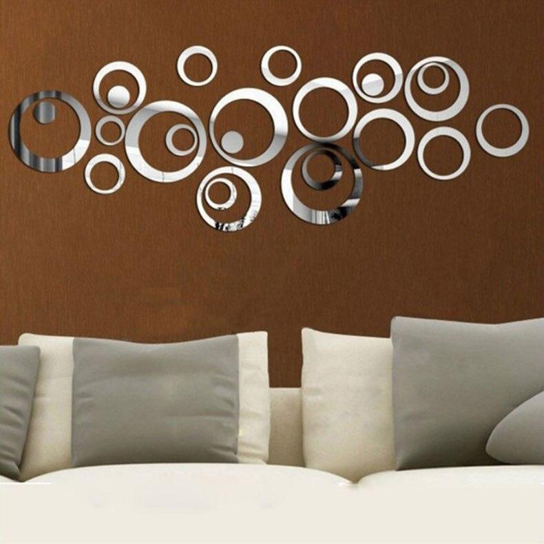 New E WALL 001 Circle Ring DIY Mirror Surface Wall Stickers 3D Acrylic  KT83