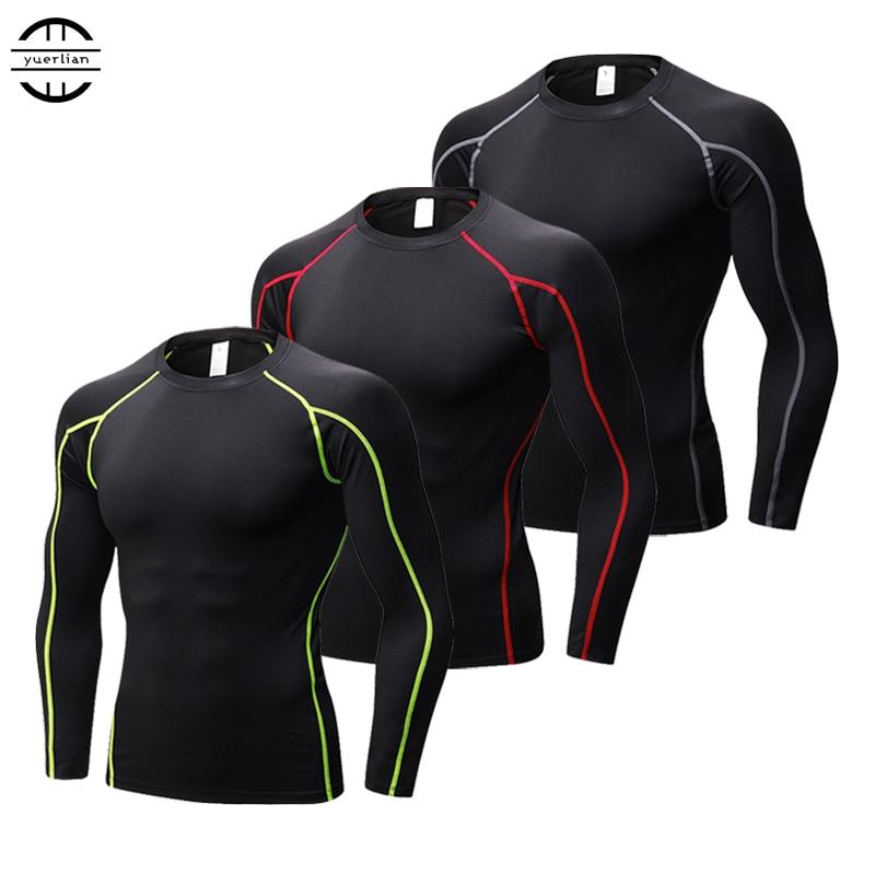 Nueva secado rápido compresión Fitness Running camisetas Gym Sportswear hombres de baloncesto Bodybuilding Rashgard