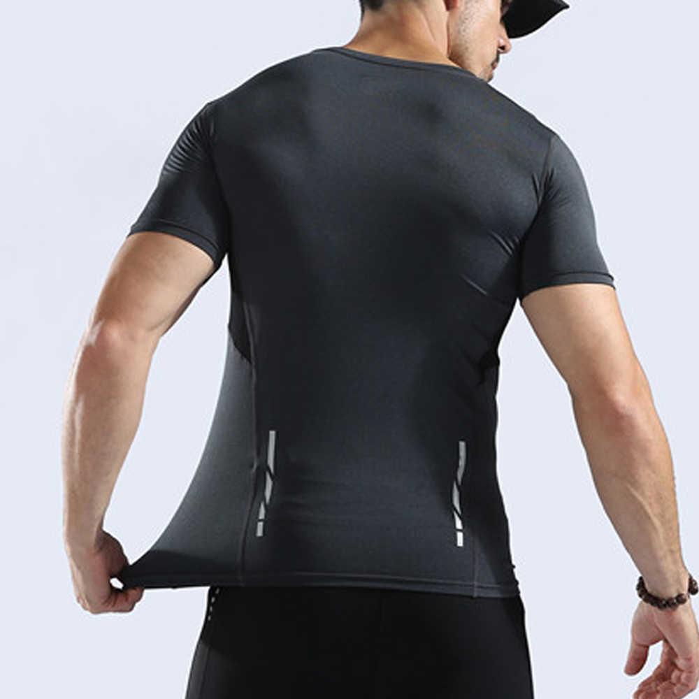 9189f97228 WOSAWE Quick Dry Running Shirt Men Fitness Tight Compression Top Short  Sleeve Sport Shirt Gym Training