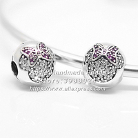 Fashion S925 Sterling Silver Beads Minnie Pave C Clip Charms Fit European DIY Bracelets Necklace Jewelry Making S019