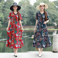 Free shipping Retro Ethnic Style Leisure Long New Cotton linen Printed V collar Loose Size Dress in Spring and Summer of 2019