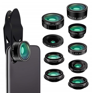 Cell Phone Camera Lens Kit Clip 9 in 1 Wide Angle Macro Fisheye Zoom Telephoto CPL Lens For iPhone Samsung Moblie Phone Lenses|Mobile Phone Lens| |  -