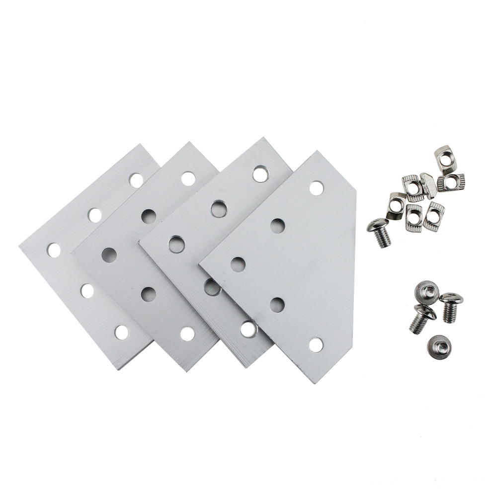 90 Degree L Shape Outside Joining Plate 10pcs with M5 2020 Series T Nuts 50 pcs and Semi round M5*8 head Hex screws 50pcs|Nuts & Bolts|Automobiles & Motorcycles - title=