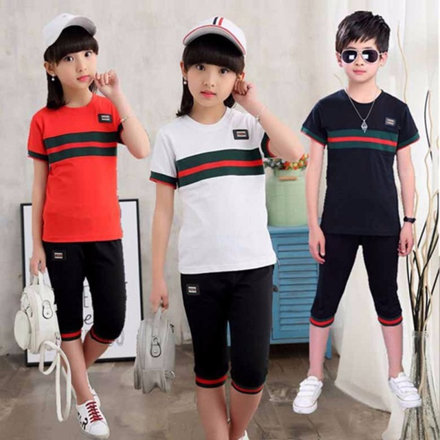 327d66c7a2d8 Boys Girls Summer Suit New Children Short Sleeve T-shirt + pants summer Boy  Kids Sport Sets Spell Color 4-12 Age