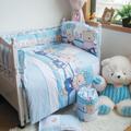 Blue Bear Cotton Sheet Quilt Pillow Bumpers, Winter Bedding Cover For Newborn Boys Girls, 7 Size 4-10 Pcs/set Baby Bedding Suit