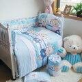 Urso azul Folha de Algodão Quilt Fronha Bumpers, inverno bedding capa para recém-nascidos meninos meninas, 7 tamanho 4-10 pçs/set bedding terno do bebê