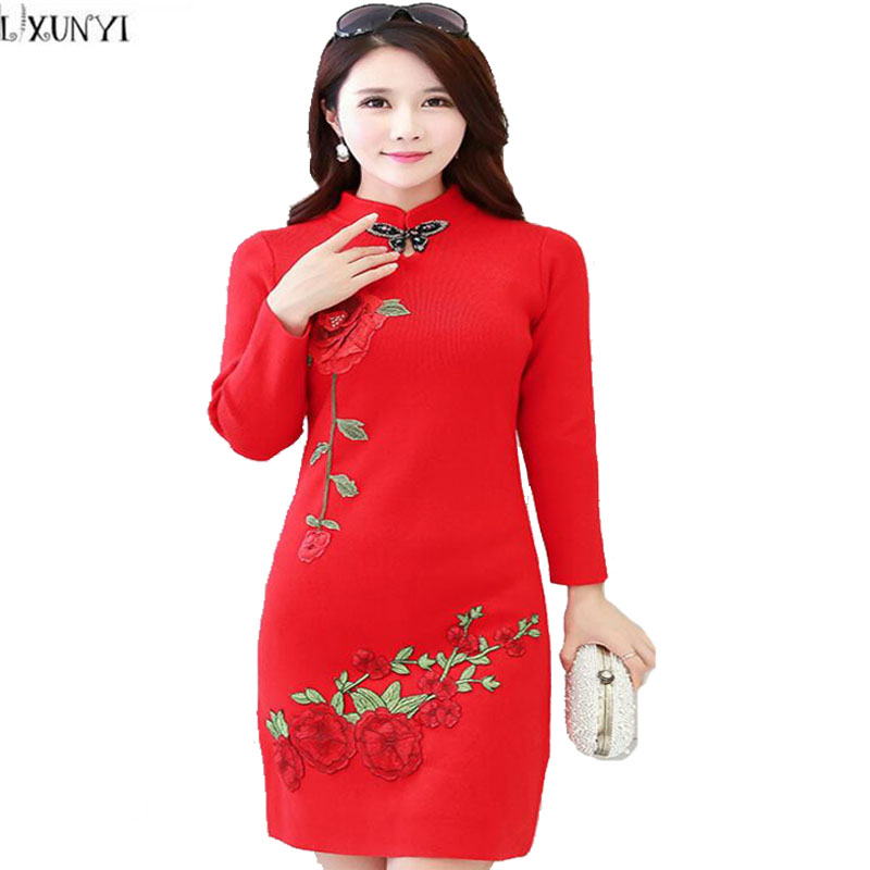 Autumn Winter New 2017 Sweater Dresses For Women Plus Size Elegant