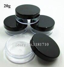 Оптовая продажа, пластиковая банка 500 шт./лот 20 г, косметическая упаковочная бутылка, контейнер для образцов для макияжа с черной крышкой
