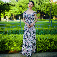 Tafforda 2018 Summer New Model Beach Holiday Dress For Woman Female Dresses Of The Big Sizes